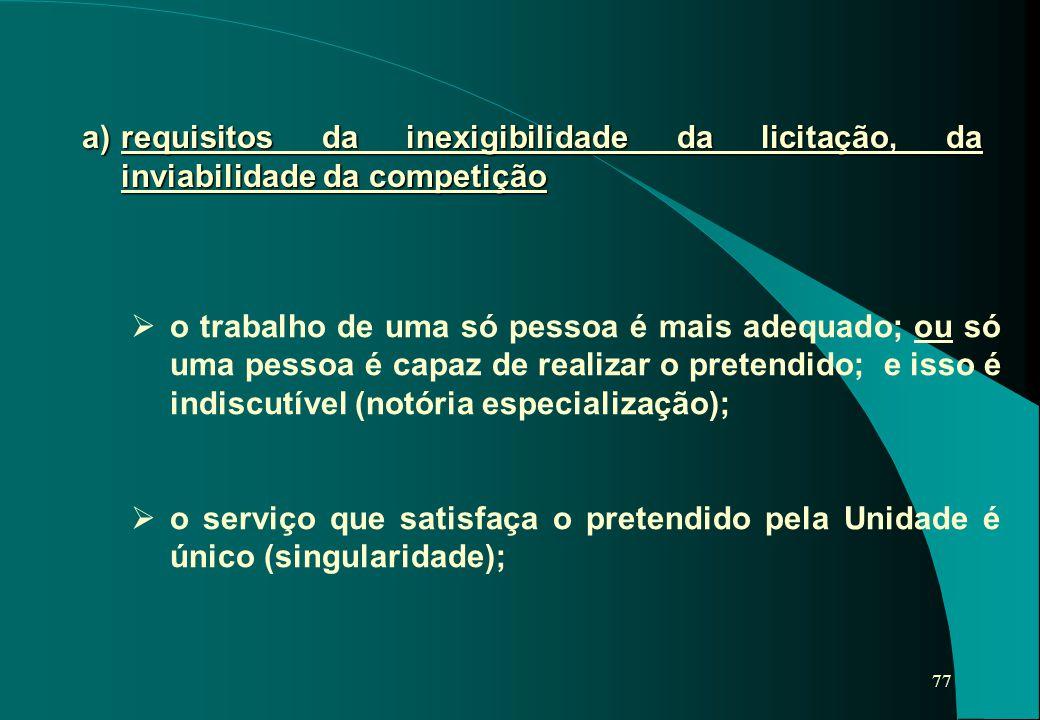 a) requisitos da inexigibilidade da licitação, da inviabilidade da competição