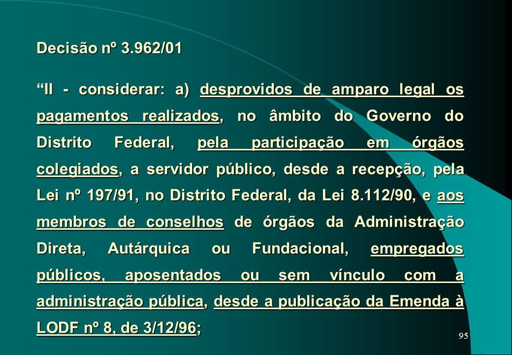 Decisão nº 3.962/01