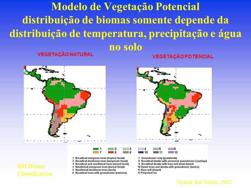 Modelo de Vegetação Potencial distribuição de biomas somente depende da distribuição de temperatura, precipitação e água no solo