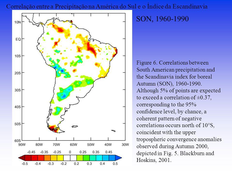 Correlação entre a Precipitação na América do Sul e o Índice da Escandinavia