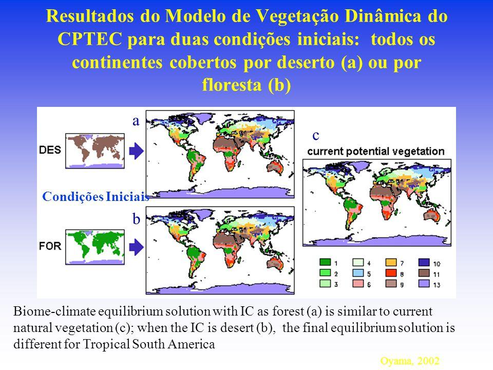 Resultados do Modelo de Vegetação Dinâmica do CPTEC para duas condições iniciais: todos os continentes cobertos por deserto (a) ou por floresta (b)