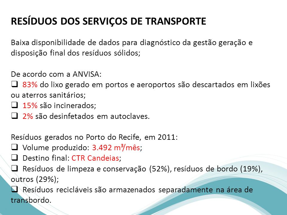 RESÍDUOS DOS SERVIÇOS DE TRANSPORTE