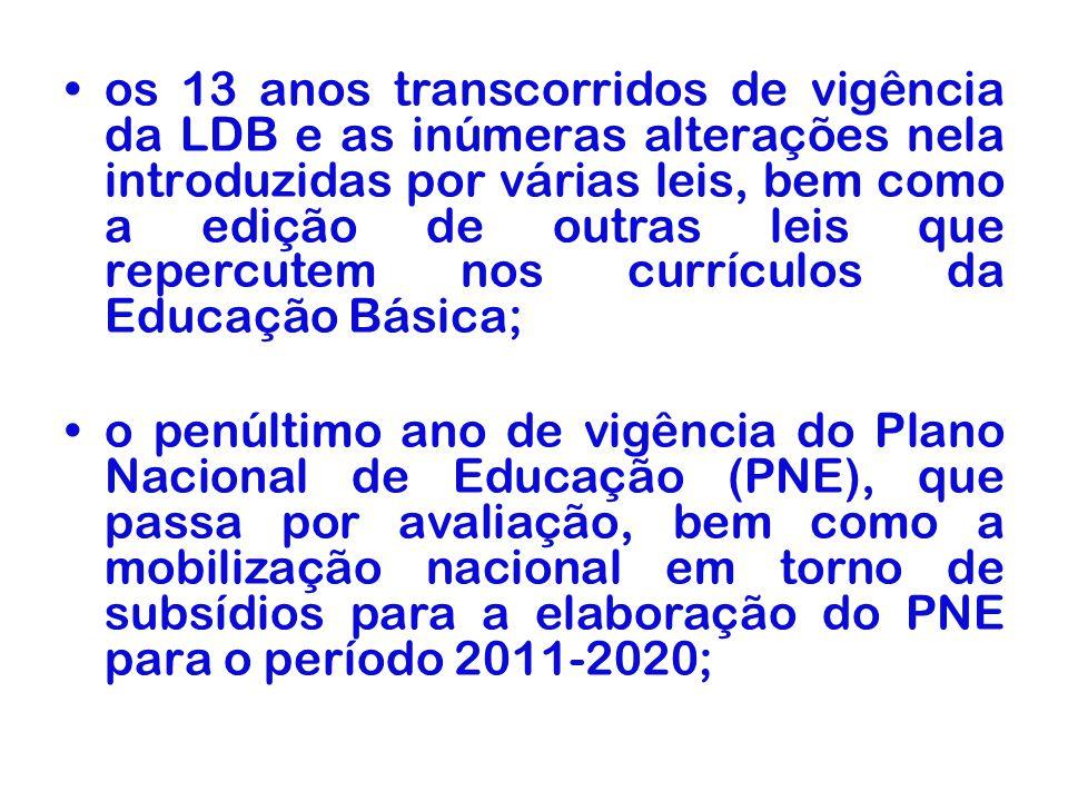 os 13 anos transcorridos de vigência da LDB e as inúmeras alterações nela introduzidas por várias leis, bem como a edição de outras leis que repercutem nos currículos da Educação Básica;