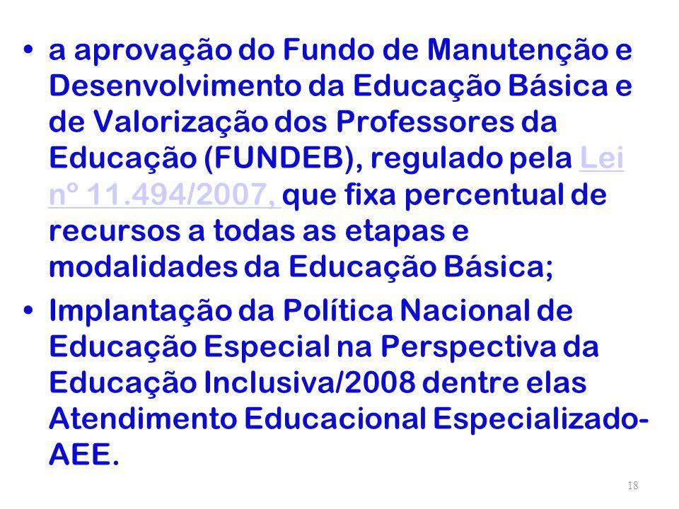 a aprovação do Fundo de Manutenção e Desenvolvimento da Educação Básica e de Valorização dos Professores da Educação (FUNDEB), regulado pela Lei nº 11.494/2007, que fixa percentual de recursos a todas as etapas e modalidades da Educação Básica;
