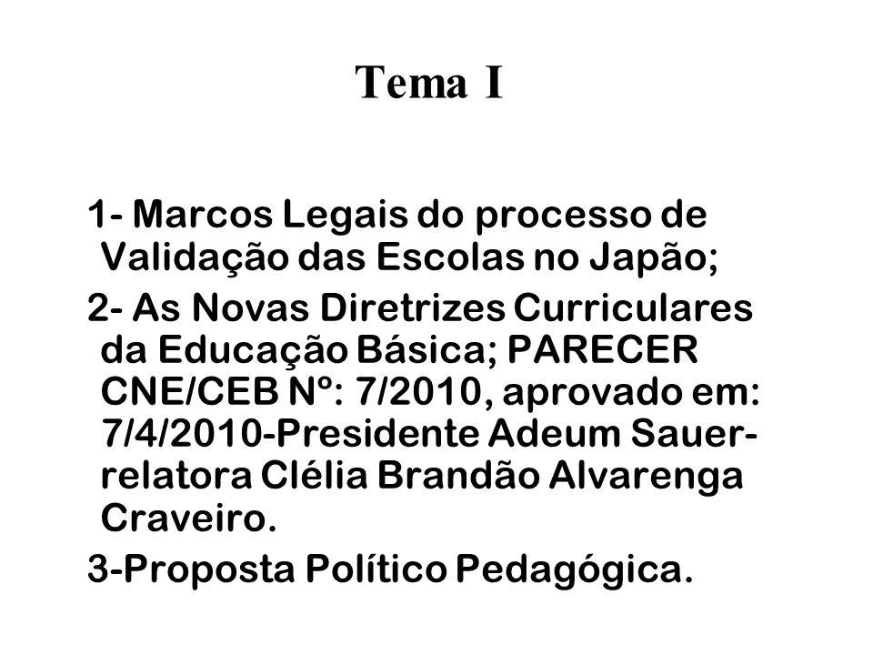 Tema I 1- Marcos Legais do processo de Validação das Escolas no Japão;