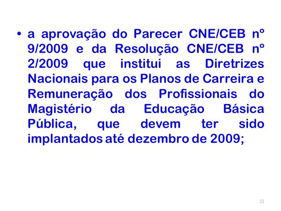 a aprovação do Parecer CNE/CEB nº 9/2009 e da Resolução CNE/CEB nº 2/2009 que institui as Diretrizes Nacionais para os Planos de Carreira e Remuneração dos Profissionais do Magistério da Educação Básica Pública, que devem ter sido implantados até dezembro de 2009;