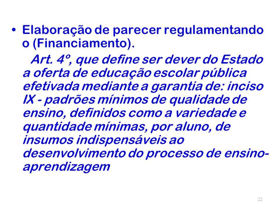 Elaboração de parecer regulamentando o (Financiamento).