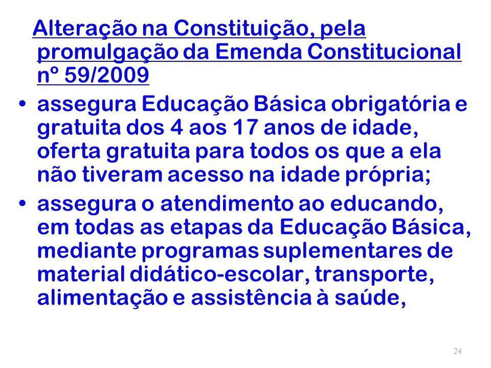 Alteração na Constituição, pela promulgação da Emenda Constitucional nº 59/2009