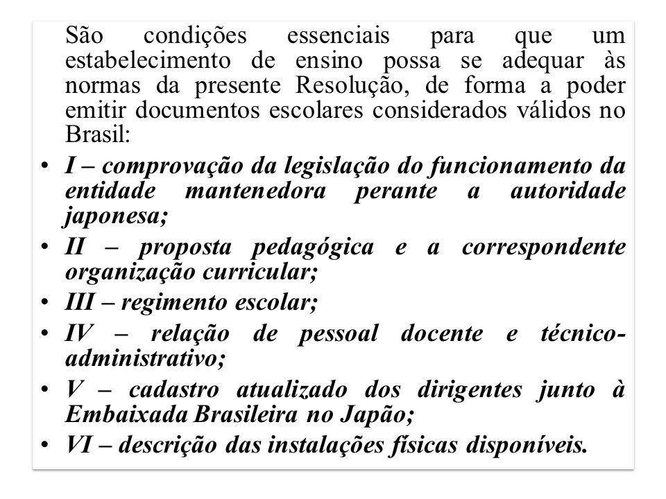 II – proposta pedagógica e a correspondente organização curricular;