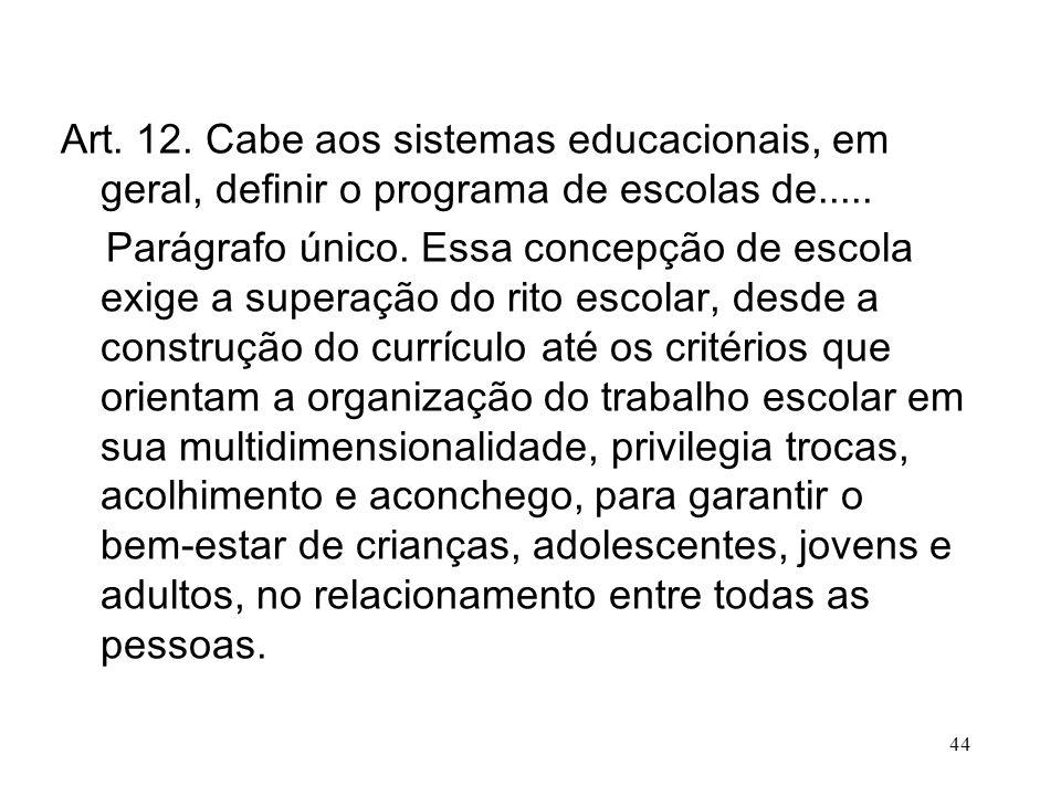 Art. 12. Cabe aos sistemas educacionais, em geral, definir o programa de escolas de.....