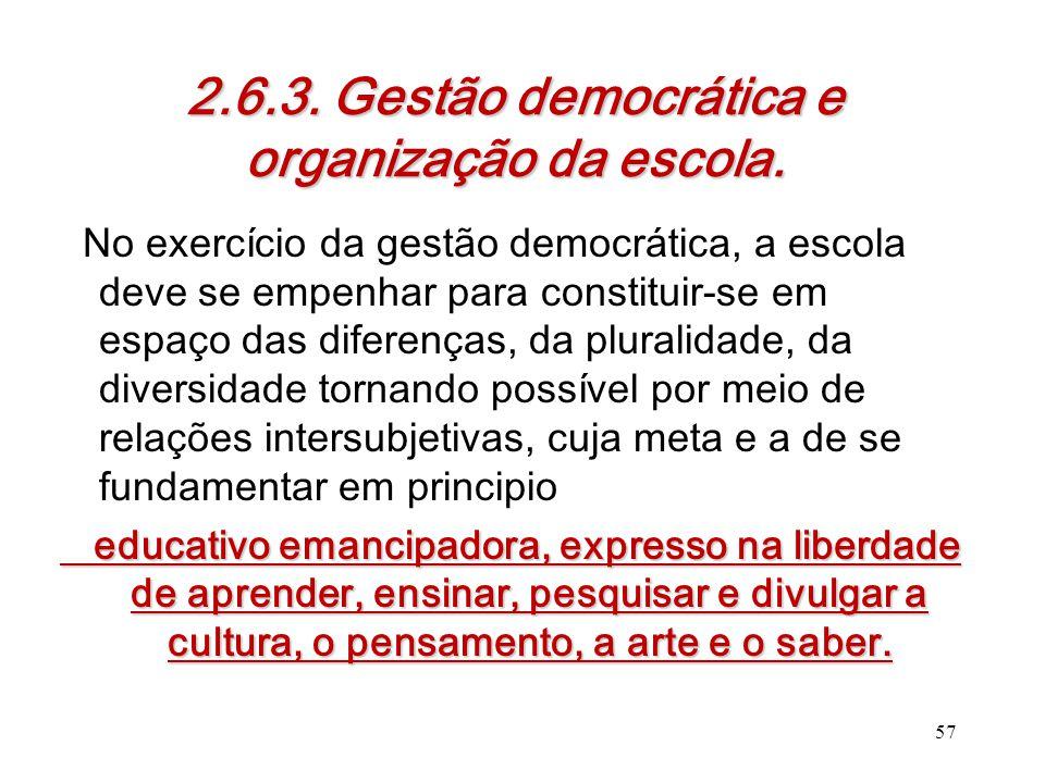 2.6.3. Gestão democrática e organização da escola.