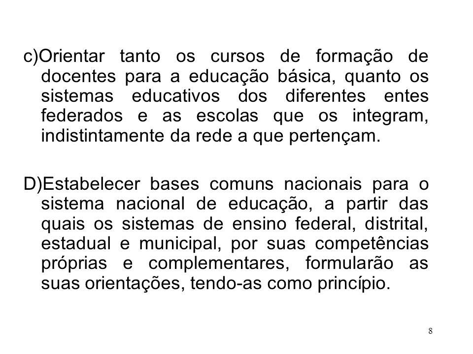 c)Orientar tanto os cursos de formação de docentes para a educação básica, quanto os sistemas educativos dos diferentes entes federados e as escolas que os integram, indistintamente da rede a que pertençam.