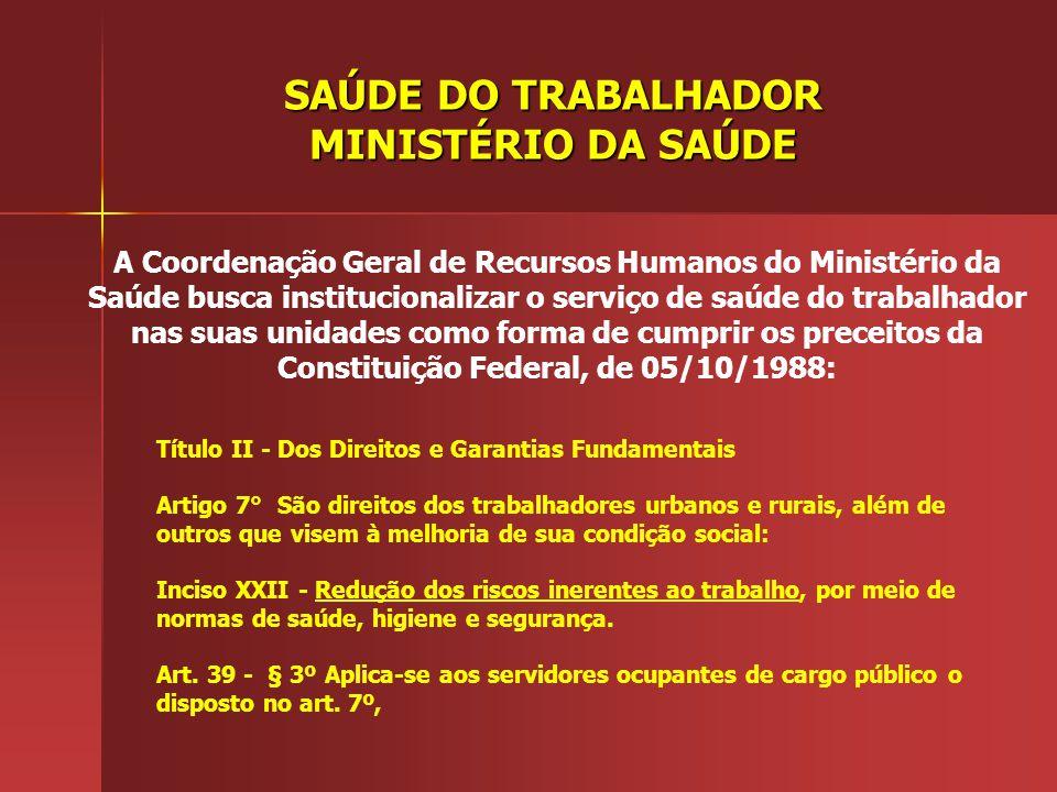 SAÚDE DO TRABALHADOR MINISTÉRIO DA SAÚDE