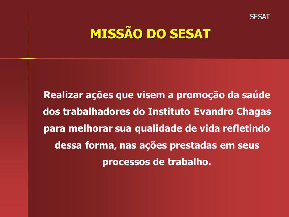 SESAT MISSÃO DO SESAT. Realizar ações que visem a promoção da saúde dos trabalhadores do Instituto Evandro Chagas.