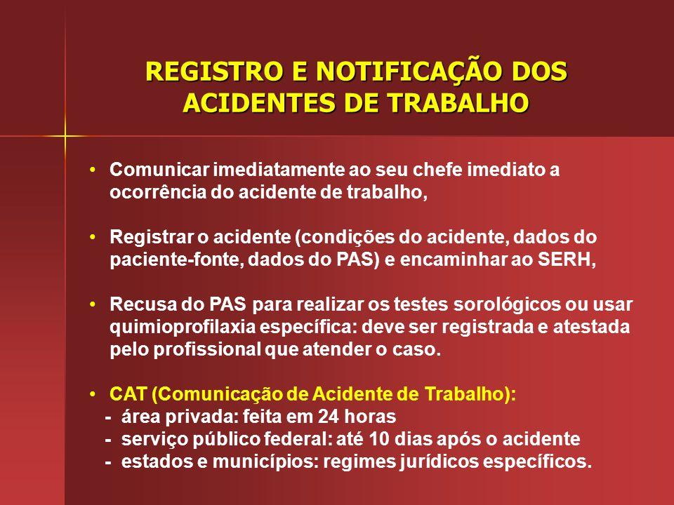 REGISTRO E NOTIFICAÇÃO DOS ACIDENTES DE TRABALHO
