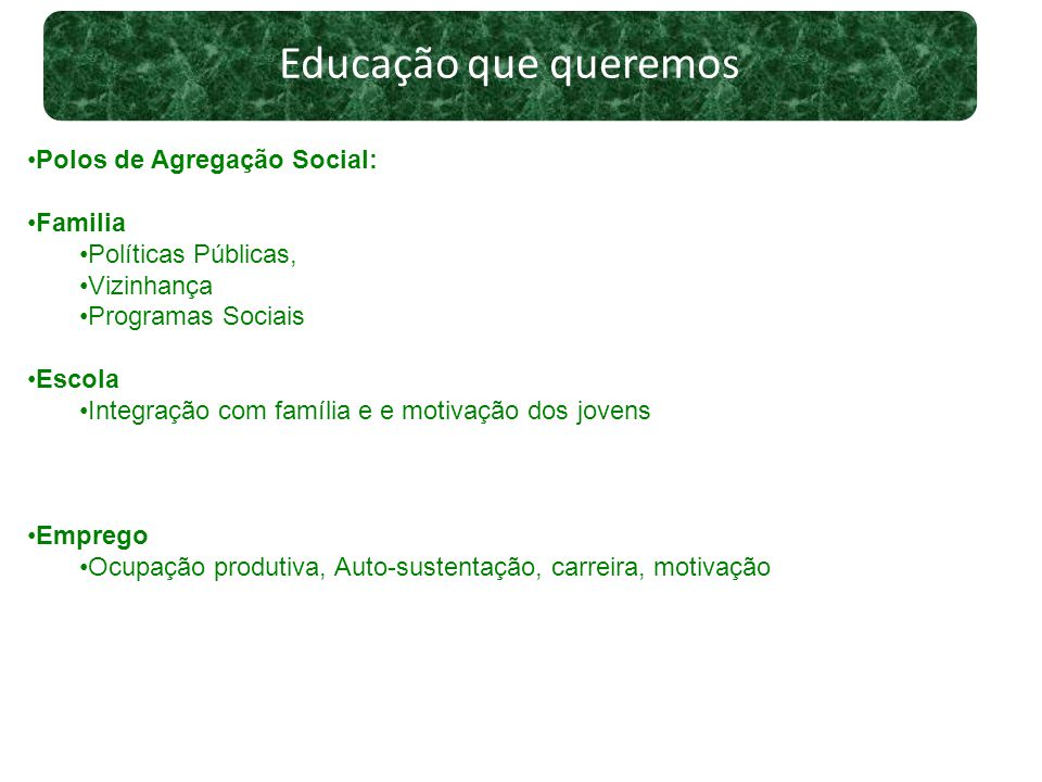Educação que queremos Polos de Agregação Social: Familia