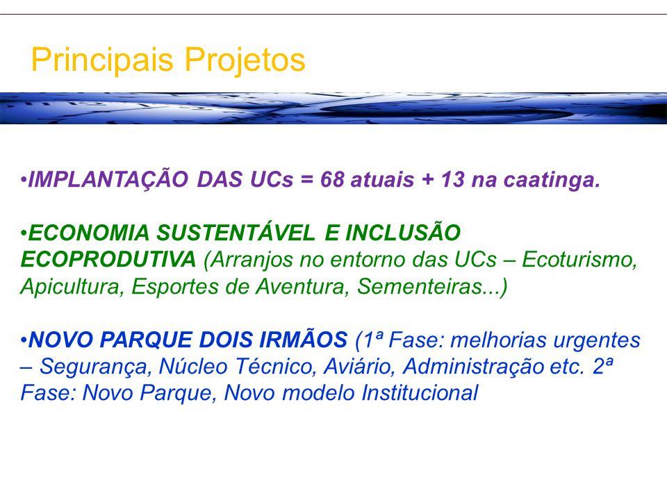 Principais Projetos IMPLANTAÇÃO DAS UCs = 68 atuais + 13 na caatinga.