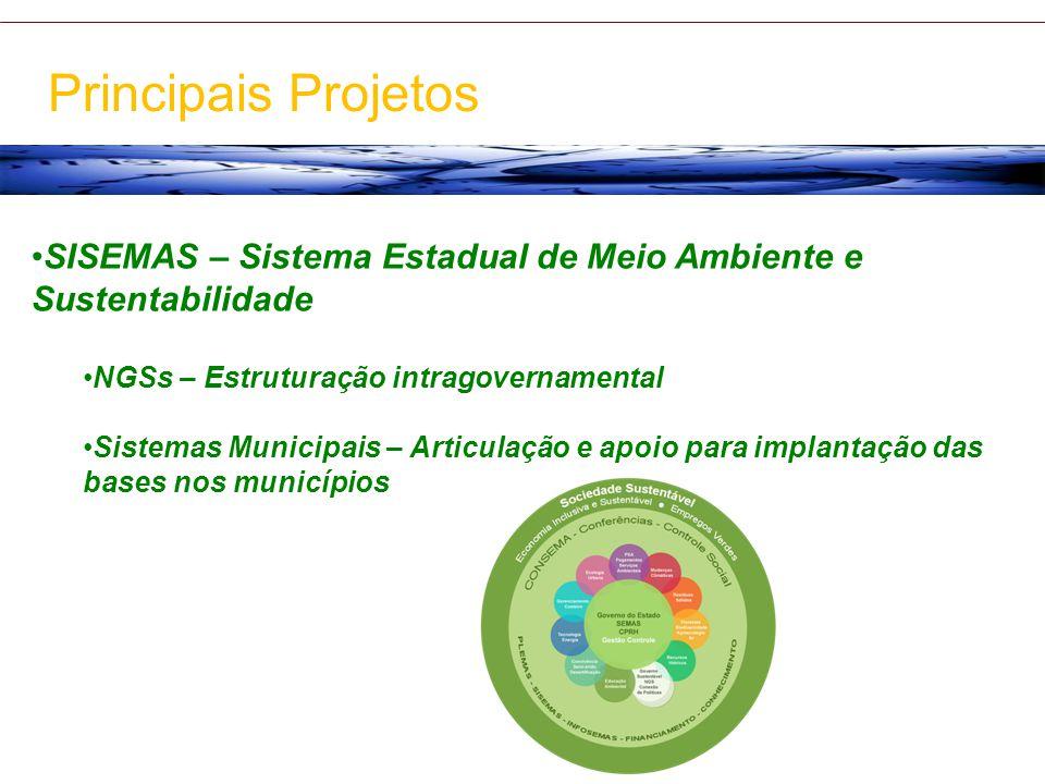 Principais Projetos SISEMAS – Sistema Estadual de Meio Ambiente e Sustentabilidade. NGSs – Estruturação intragovernamental.