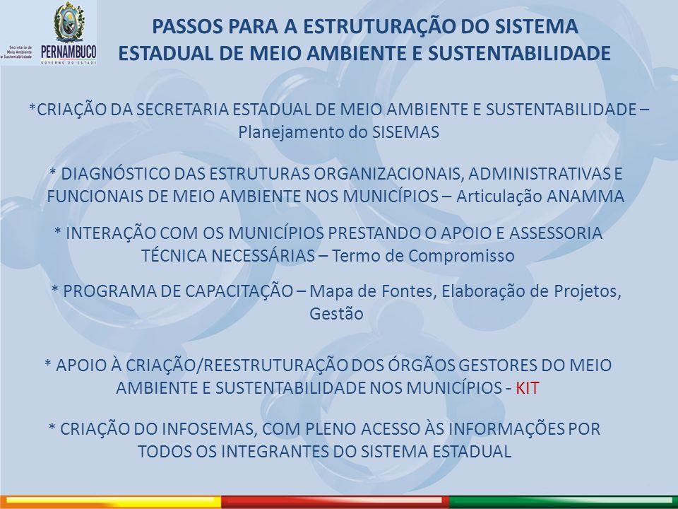 PASSOS PARA A ESTRUTURAÇÃO DO SISTEMA ESTADUAL DE MEIO AMBIENTE E SUSTENTABILIDADE