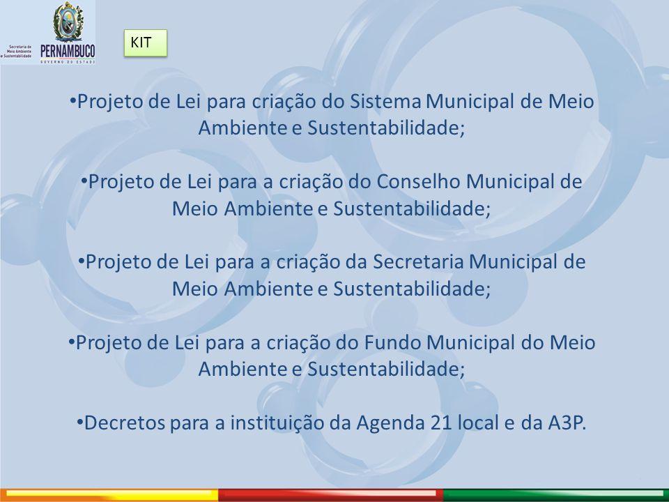 Decretos para a instituição da Agenda 21 local e da A3P.