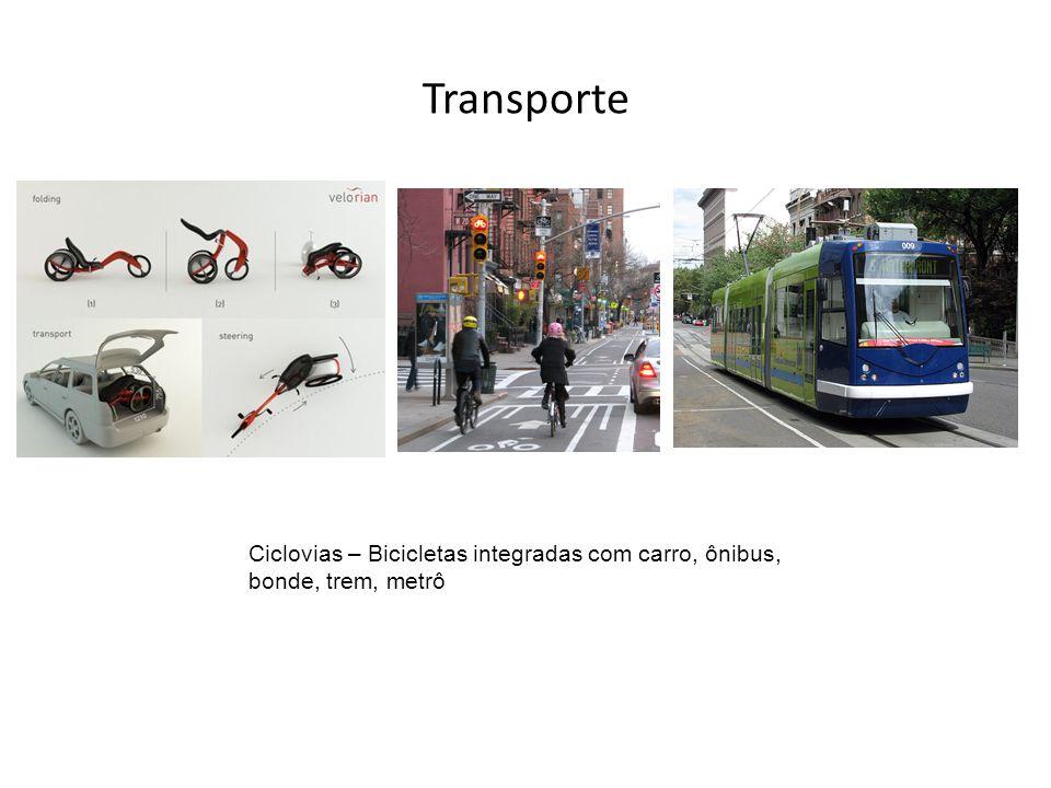 Transporte Ciclovias – Bicicletas integradas com carro, ônibus, bonde, trem, metrô