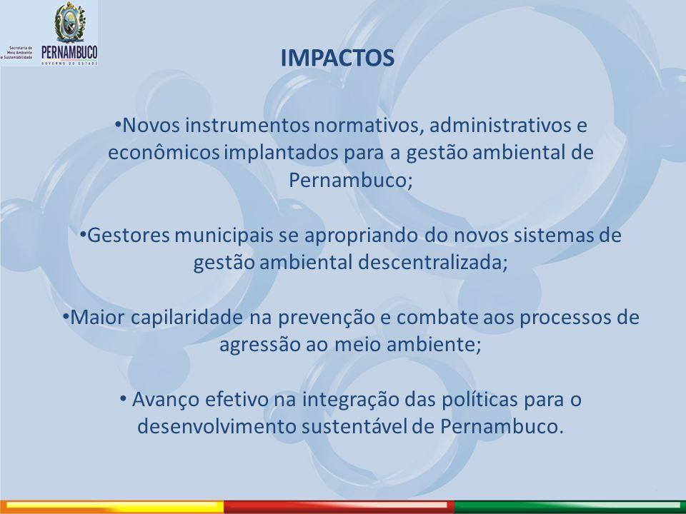 IMPACTOS Novos instrumentos normativos, administrativos e econômicos implantados para a gestão ambiental de Pernambuco;