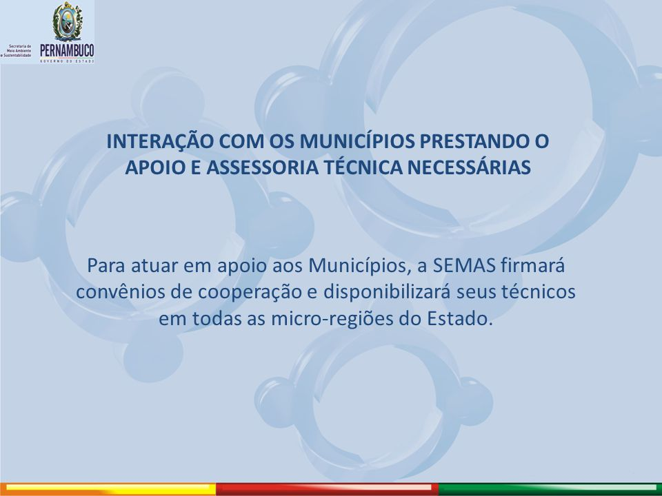 INTERAÇÃO COM OS MUNICÍPIOS PRESTANDO O APOIO E ASSESSORIA TÉCNICA NECESSÁRIAS