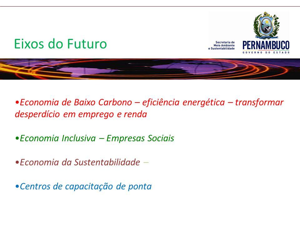 Eixos do Futuro Economia de Baixo Carbono – eficiência energética – transformar desperdício em emprego e renda.