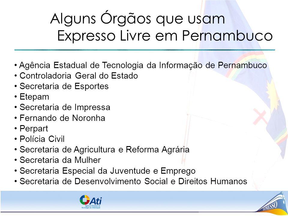 Alguns Órgãos que usam Expresso Livre em Pernambuco
