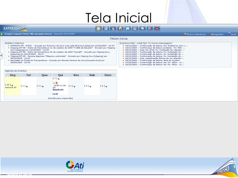 Tela Inicial upp@ati.pe.gov.br