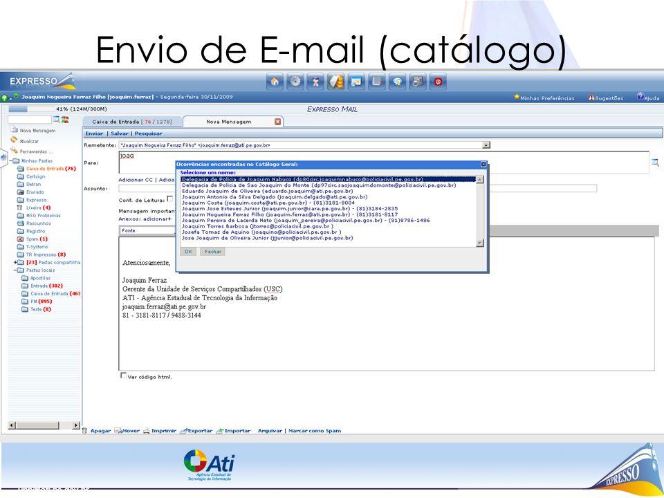 Envio de E-mail (catálogo)