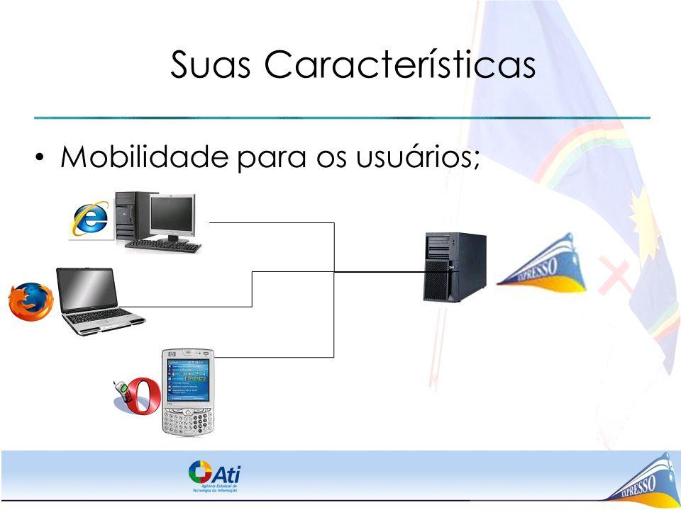 Suas Características Mobilidade para os usuários;