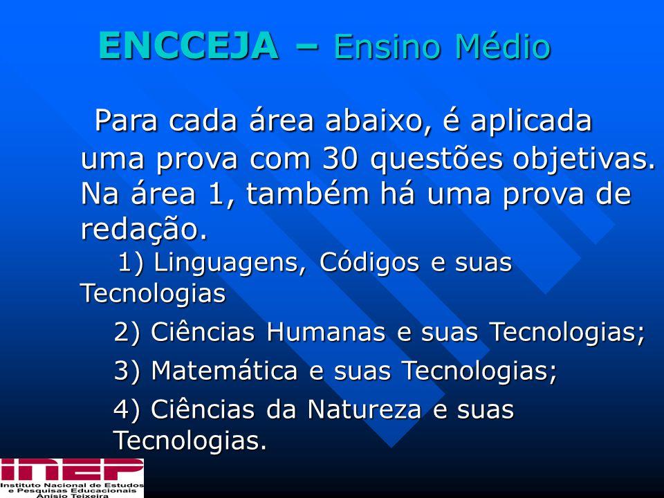 ENCCEJA – Ensino Médio Para cada área abaixo, é aplicada uma prova com 30 questões objetivas. Na área 1, também há uma prova de redação.