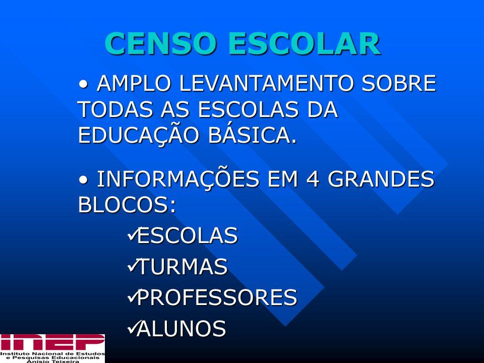 CENSO ESCOLAR AMPLO LEVANTAMENTO SOBRE TODAS AS ESCOLAS DA EDUCAÇÃO BÁSICA. INFORMAÇÕES EM 4 GRANDES BLOCOS: