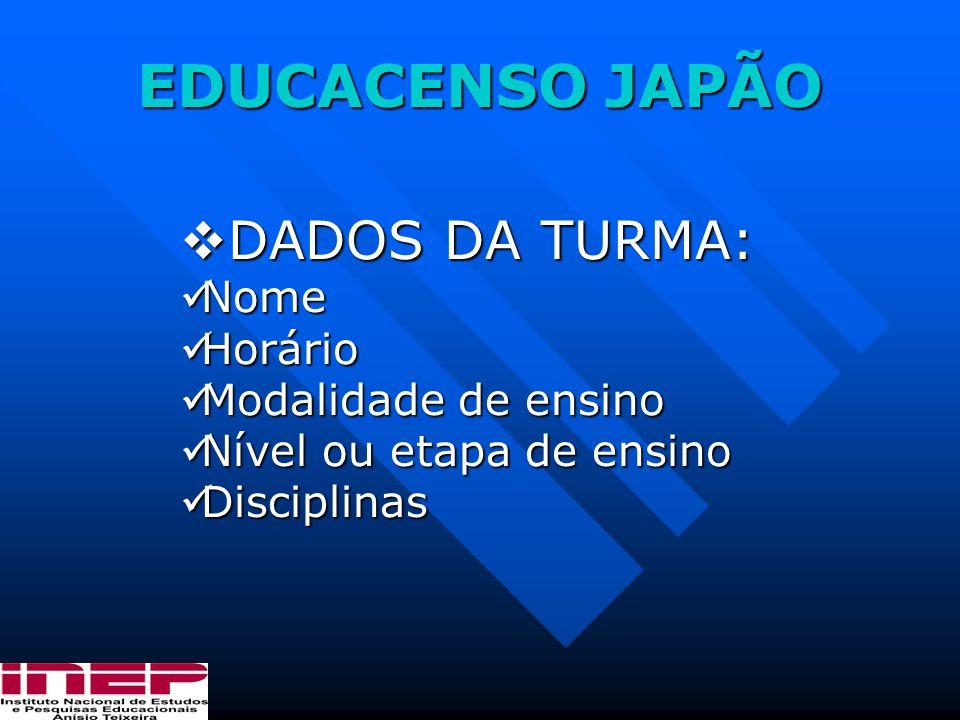 EDUCACENSO JAPÃO DADOS DA TURMA: Nome Horário Modalidade de ensino