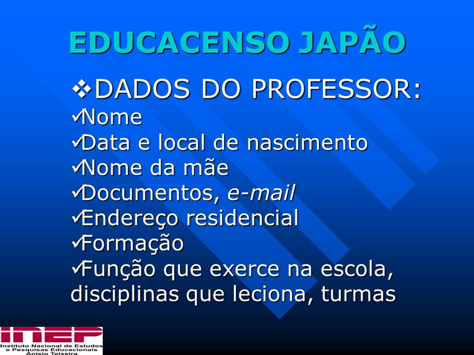 EDUCACENSO JAPÃO DADOS DO PROFESSOR: Nome Data e local de nascimento