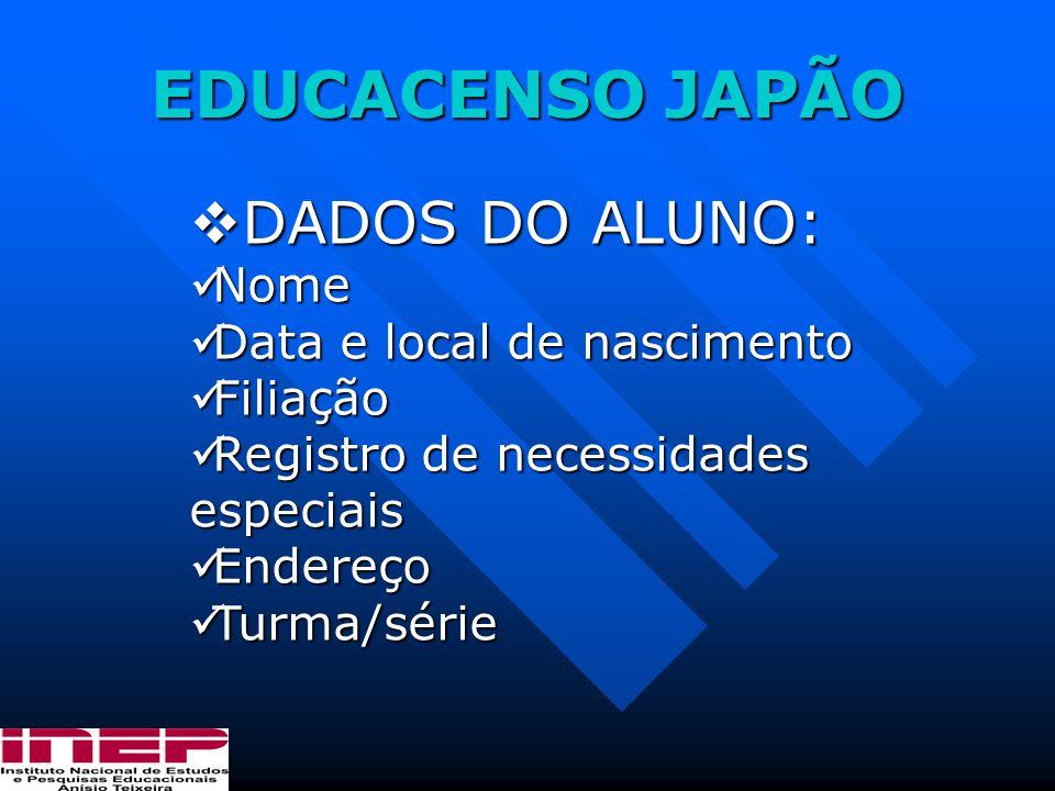 EDUCACENSO JAPÃO DADOS DO ALUNO: Nome Data e local de nascimento
