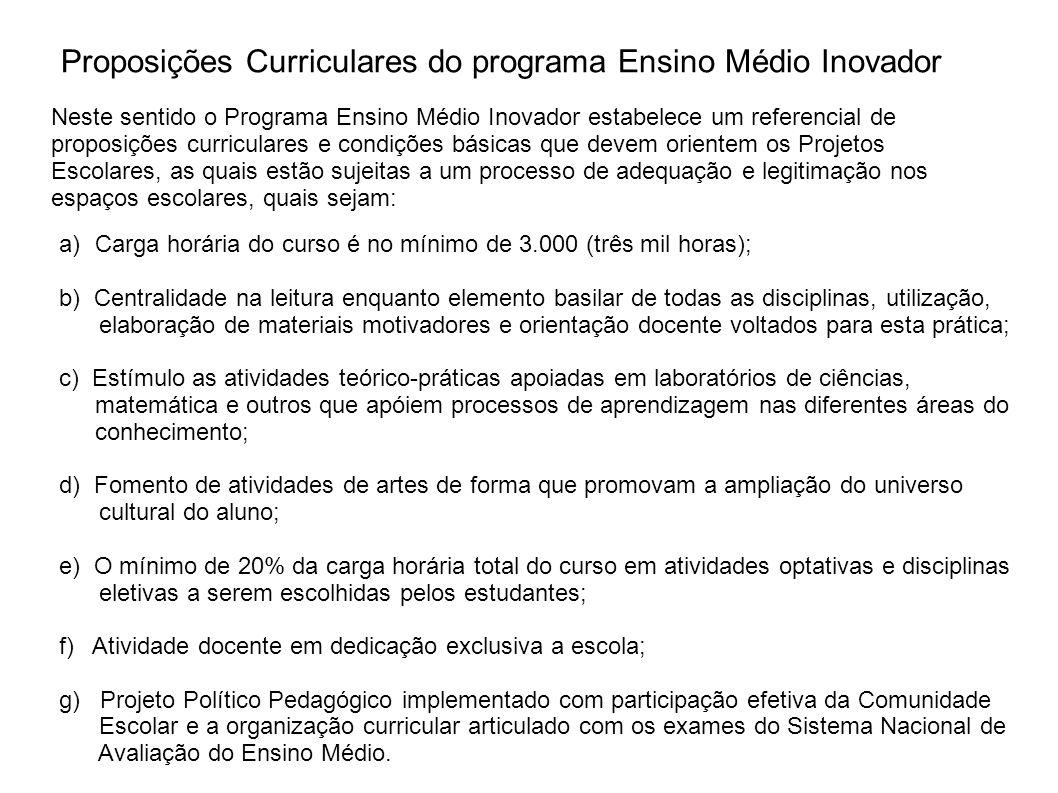 Proposições Curriculares do programa Ensino Médio Inovador