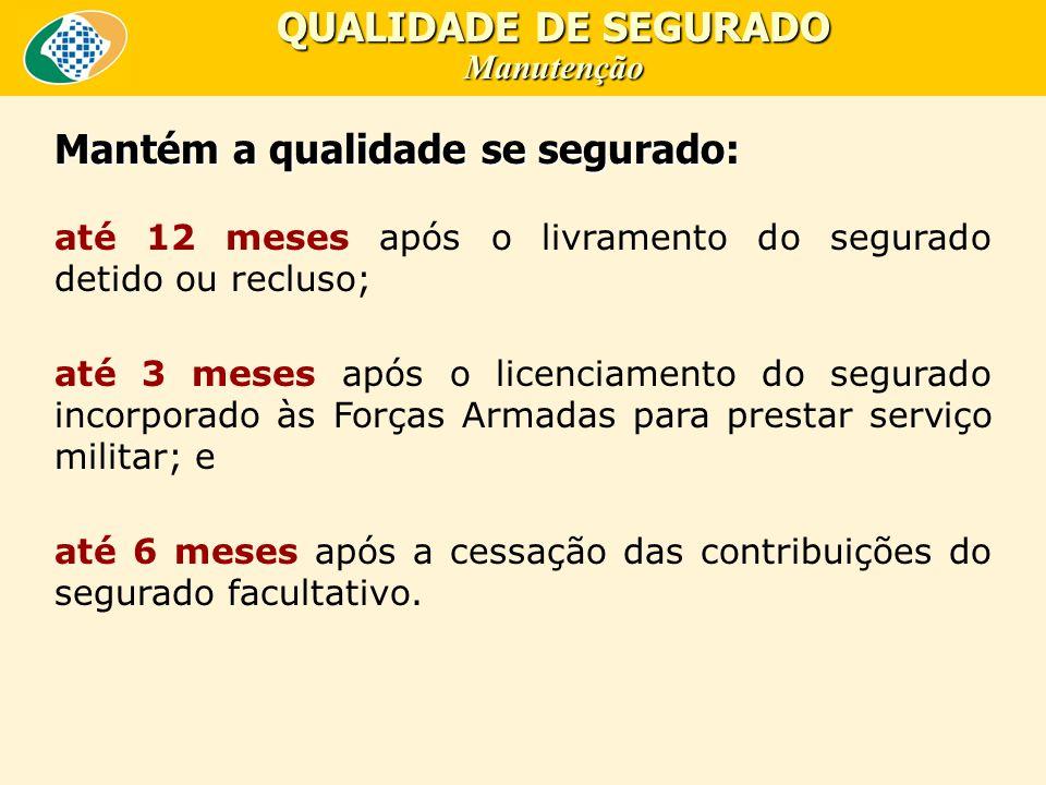 QUALIDADE DE SEGURADO Manutenção