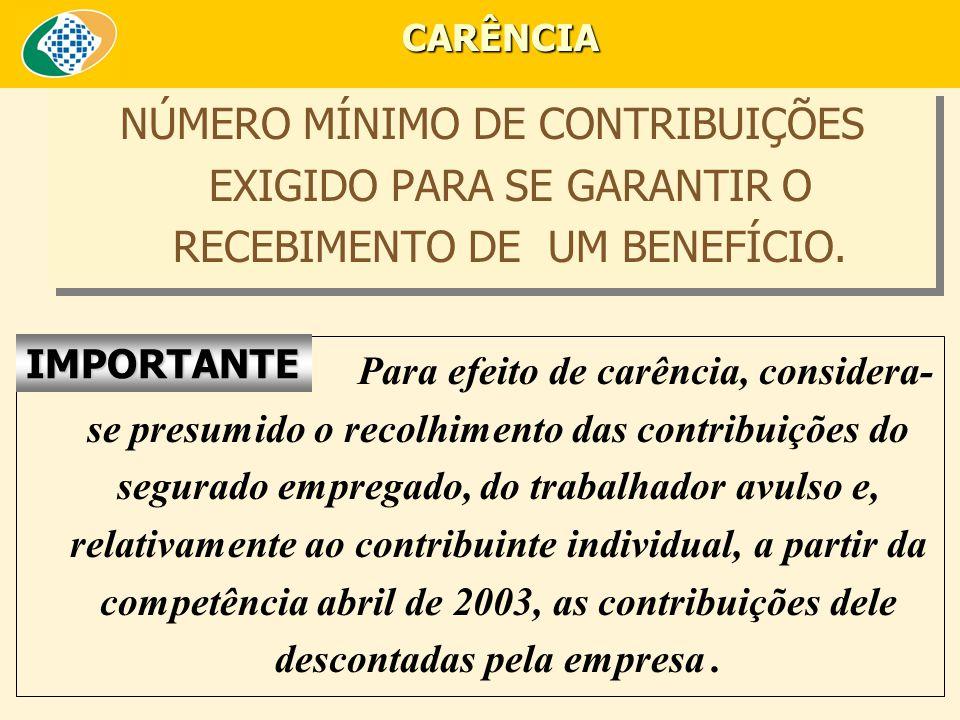 CARÊNCIA NÚMERO MÍNIMO DE CONTRIBUIÇÕES EXIGIDO PARA SE GARANTIR O RECEBIMENTO DE UM BENEFÍCIO. IMPORTANTE.