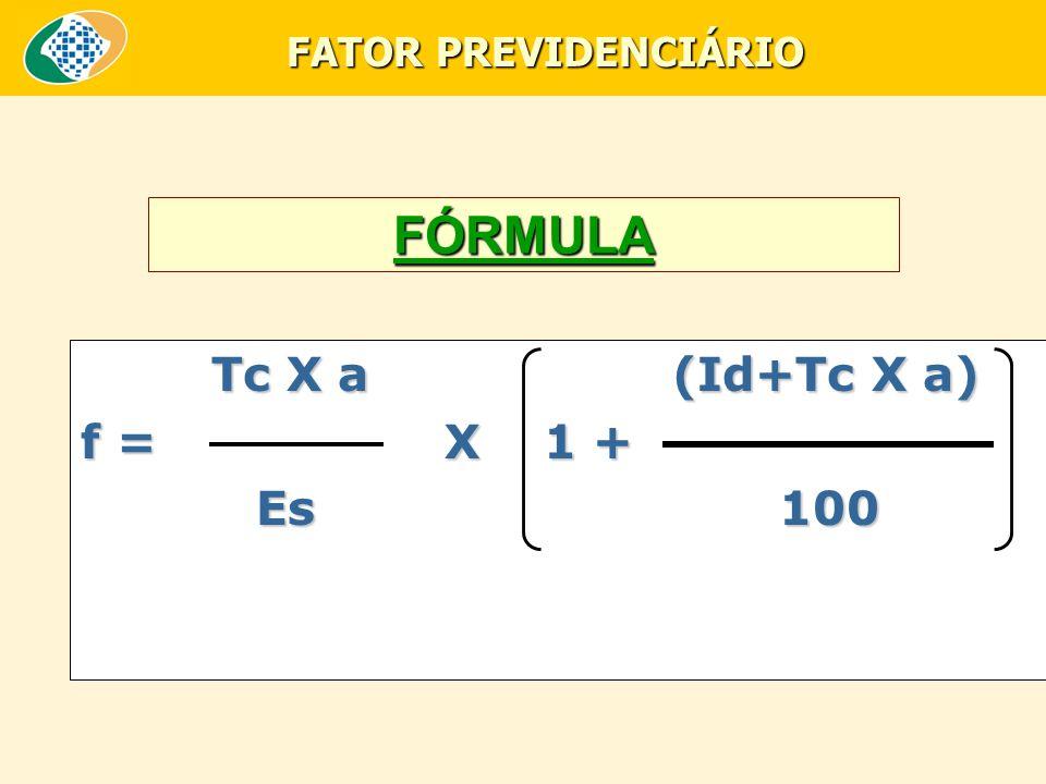 FATOR PREVIDENCIÁRIO FÓRMULA.