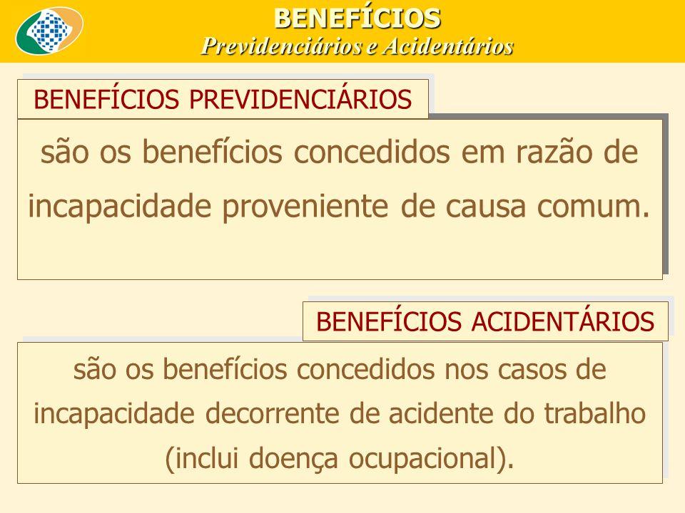 BENEFÍCIOS Previdenciários e Acidentários