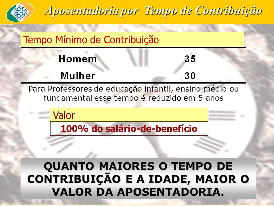 Aposentadoria por Tempo de Contribuição 100% do salário-de-benefício