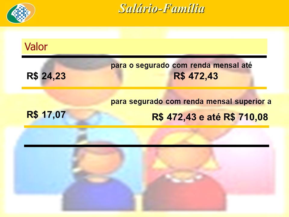 Salário-Família Valor R$ 24,23 R$ 472,43 R$ 17,07