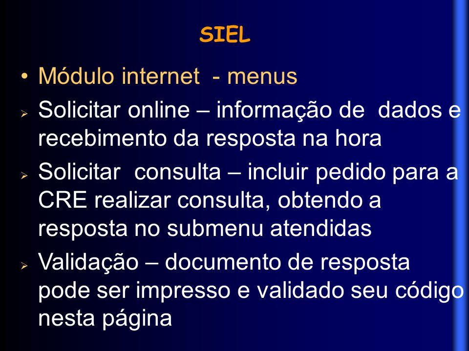 Módulo internet - menus