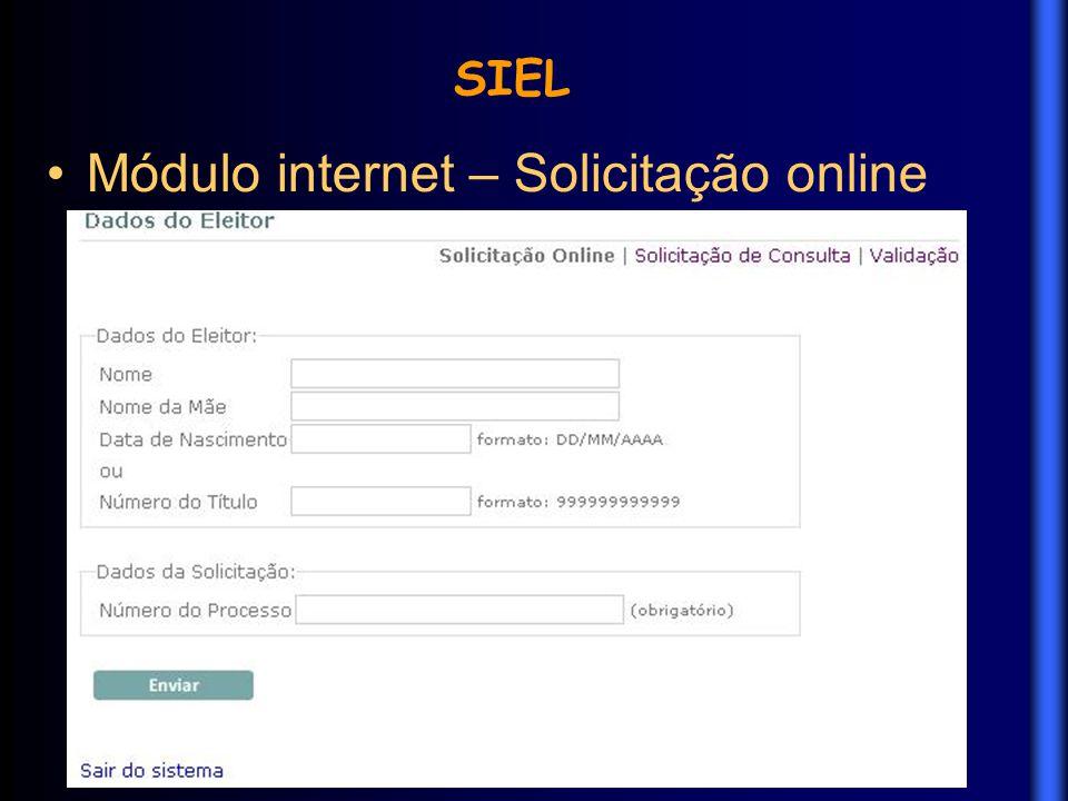 Módulo internet – Solicitação online