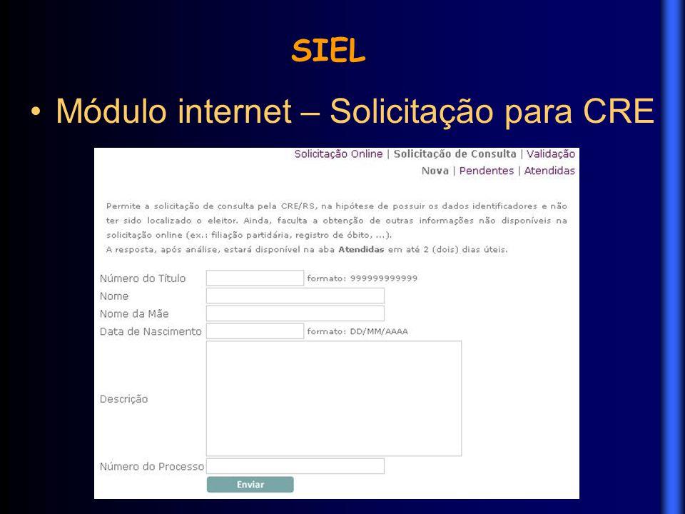 Módulo internet – Solicitação para CRE