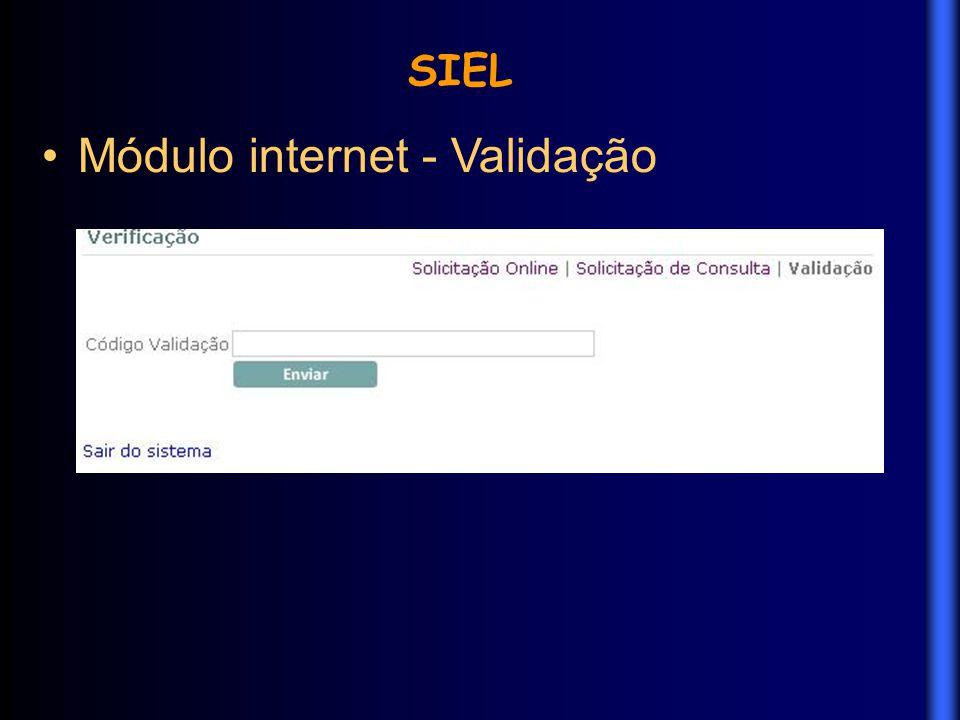 Módulo internet - Validação