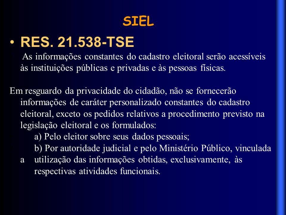 SIEL RES. 21.538-TSE. As informações constantes do cadastro eleitoral serão acessíveis às instituições públicas e privadas e às pessoas físicas.