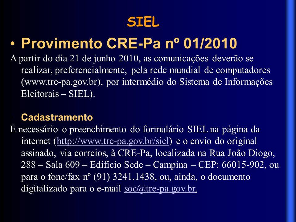 Provimento CRE-Pa nº 01/2010 SIEL
